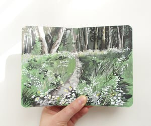 sketchbook spread, greenery art, and gouache landscape image