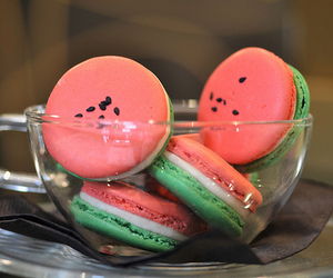 watermelon, food, and macaroons image
