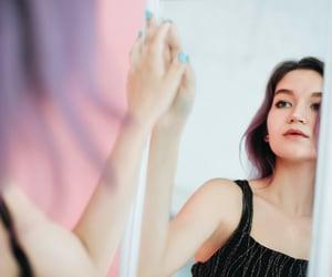 mirror, purple hair, and pastel image