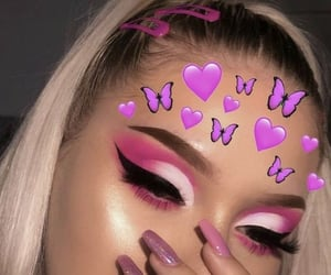 makeup, pink, and butterfly image