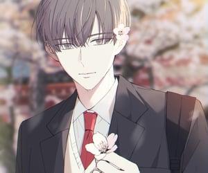 art, sakura blossom, and anime boy image