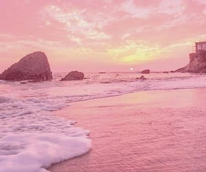 wallpaper, pink, and beach image