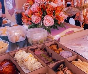 birthday, flowers, and food image