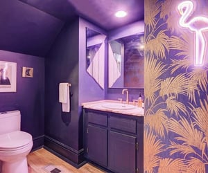 bathroom, neon signs, and purple image