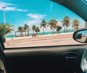beach, car, and ocean image