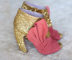 shoes, pink, and gold image