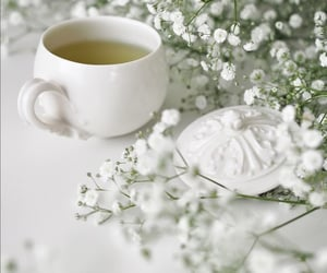 cup of tea, flowers, and white image