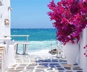 beach, Greece, and mykonos image
