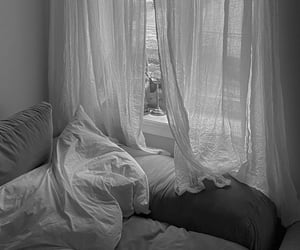 aesthetic, b&w, and bed image