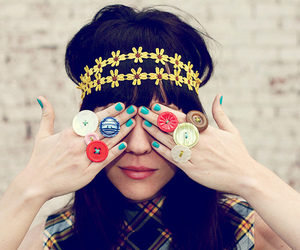 girl, buttons, and rings image