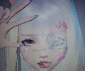 bandaid, cute girl, and cyber image