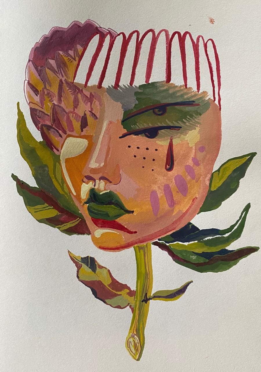 acrylic, art, and flowers image