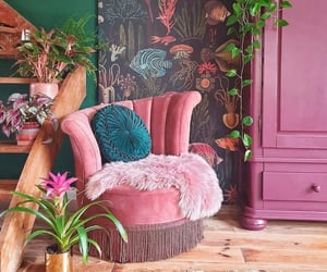 art, pink, and plant image