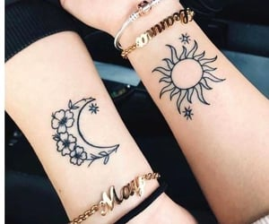 sun, Tattoos, and moon image