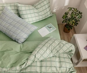 green, bed, and bedroom image