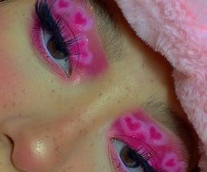 art, fake eyelashes, and hearts image