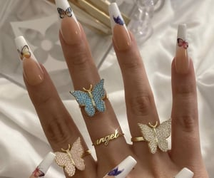 butterfly, nails, and blue image