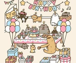 cats, gif, and happy birthday image