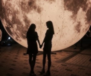 moon, love, and girls image