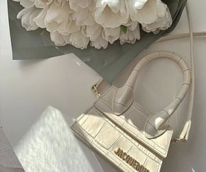 flowers, bag, and white image
