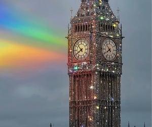 Big Ben, rainbow, and glitter image