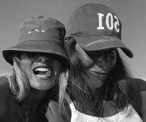 black and white, cap, and fashion image