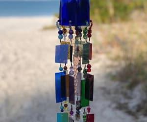 blue bottle, cobalt blue, and wind chime image