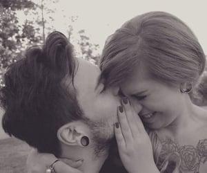 couple, gauges, and tats image