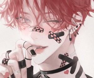 artwork, black nails, and choker image