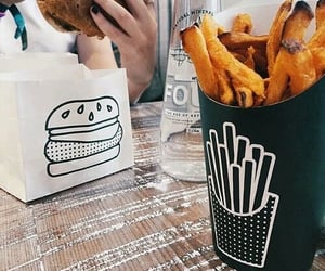 burger, fries, and junk food image