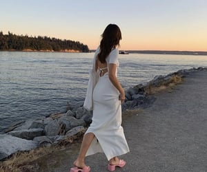 backless dress, pink heels, and White Summer Dress image