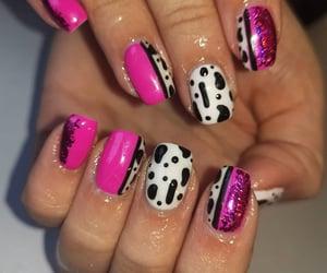 nail art, nails, and cow print image