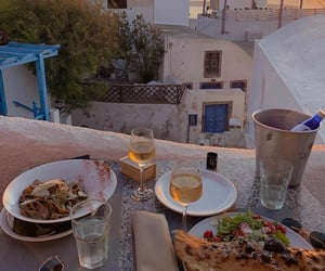 dinner, sunset, and food image