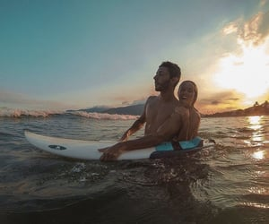 beach, couples, and surf image