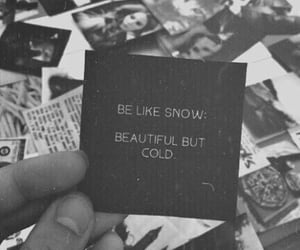 black and white, saying, and snow image