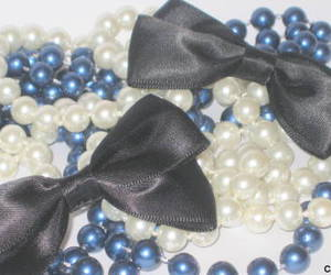blue and white, bows, and pearls image