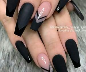 beauty, nail designs, and black nails image