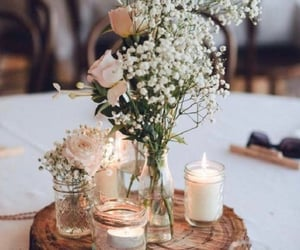 wedding, flowers, and candle image