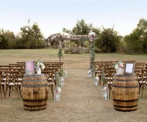 marriage, outside, and rustic wedding image