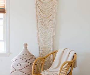 pastel, woven wall hanging, and muted color image