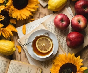 apples, books, and cup of tea image