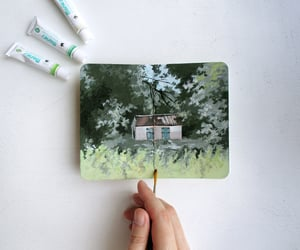 landscape painting, gouache landscape, and sketchbook spread image