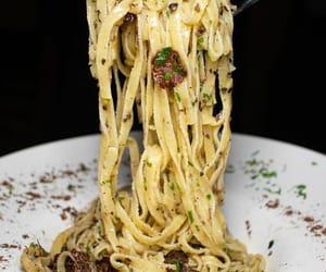 italian food, cream, and fettucine image