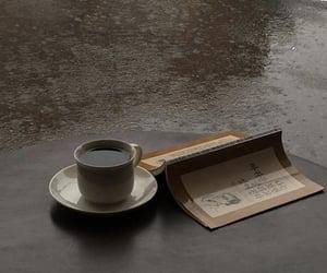 coffee, book, and rain image