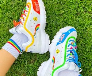 aesthetic, custom shoes, and rainbow image