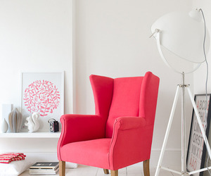 pink, room, and chair image
