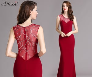 party wear, fitted evening dress, and red formal dress image