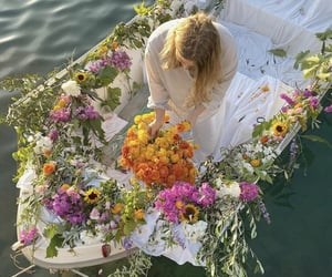 aesthetic, boat, and flowers image