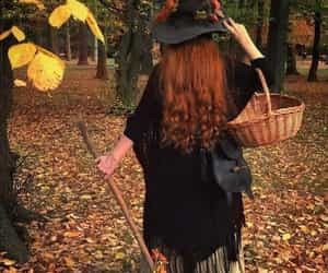 autumn, girl, and spooky image