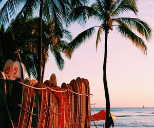 beach, lock, and palm image